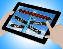Insurance Tablet Means Life House Auto And Travel Stock Image