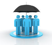 Insurance Teamwork. Three dimensional illustration of Teamwork Concept made with pictogram people Stock Photos