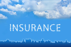 Insurance text on cloud Royalty Free Stock Images