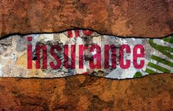 Insurance text on wall royalty free stock images