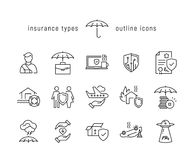 Insurance types black line icons. Vector black line icon set of insurance types Royalty Free Stock Images