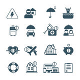 Insurance vector icons. Protection and safety symbols. Insurance against fire, floods, illustration of insurance health Royalty Free Stock Images