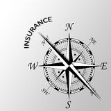 Insurance word aside compass. Illustration of insurance word aside compass Stock Images