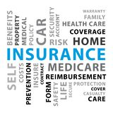 Insurance word cloud. Blue vector concept illustration II. royalty free stock photography