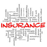 Insurance word cloud concept in red & black Stock Image