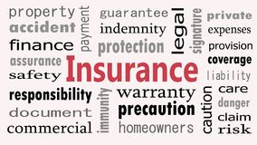 Insurance word cloud concept on white background Vector Illustration