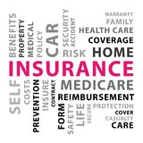 Insurance word cloud. Pink vector concept illustration. royalty free stock photos