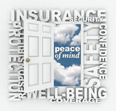 Insurance Word Door 3D Collage Protection Security Stock Images
