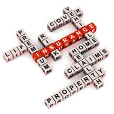 Insurance words. Words related to insurance in crossword over white background, words like cover vehicle life risk home claims property etc stock illustration