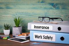 Insurance and work safety concept. Successful business, law and profit background stock image