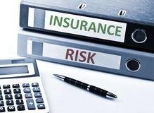 Insurance write on folder. And office tools royalty free stock photo