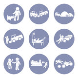 Insurances type and accident icon set pictogram for presentation business concept background in  Royalty Free Stock Photography