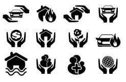 Insuranse ikony set Fotografia Royalty Free