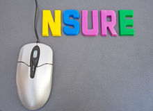 Insure on-line: best deals ?. An image of the word ' insure ' in bold colorful upper case letters with the letter 'I' replaced by the cable connecting a mouse to Royalty Free Stock Photography