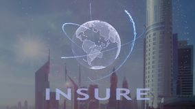 Insure text with 3d hologram of the planet Earth against the backdrop of the modern metropolis. Futuristic animation concept royalty free illustration