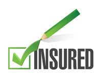 Insured check list and pencil illustration. Design over a white background Stock Photography