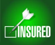 Insured dart check mark illustration design. Over a green background Stock Photo