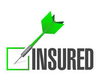 Insured dart check mark illustration. Design over a white background Stock Photography