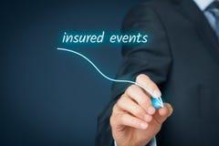 Insured events decrease. Insurance agent plan to decrease insured events. Assurance concept Stock Photos