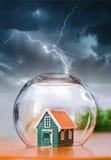 Insured house in thunder Stock Photo