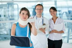 Insured injured woman Royalty Free Stock Image