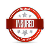 Insured red seal illustration design. Over a white background Royalty Free Stock Photo