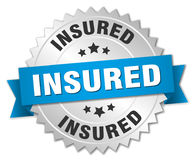 Insured round silver badge Royalty Free Stock Image