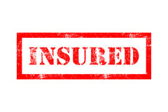 Insured rubber stamp. In red ink with white background Stock Photos
