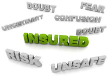 Insured. Word in highlight versus antonyms which are in grey, like risk, unsafe, etc Stock Photography
