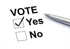 Insured yes check-box. Closeup Royalty Free Stock Images
