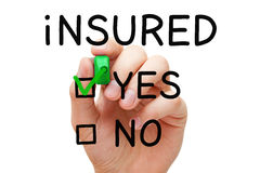 Insured Yes Green Marker Stock Photography