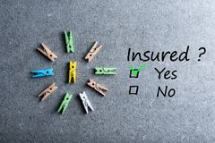 Insured yes or no - Incurance concept. question - ARE YOU COVERED.  Royalty Free Stock Photos
