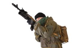 Insurgent with kalashnikov rifle with under-barrel grenade launcher Royalty Free Stock Photo