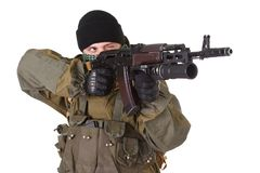 Insurgent with kalashnikov rifle with under-barrel grenade launcher Stock Photography