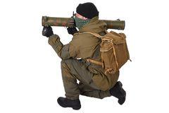Insurgent with RPG rocket launcher. Isolated on white Stock Photography