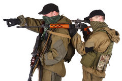 Insurgent sniper pair with SVD rifle and RPD machine gun Stock Photography