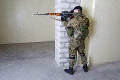 Insurgent sniper with SVD rifle Royalty Free Stock Images