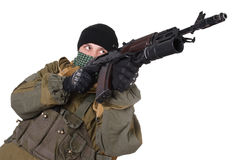 Insurgent wearing shemagh with kalashnikov rifle Stock Images