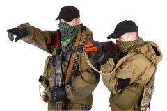 Insurgents with AK 47 and RPD machine gun Stock Photo