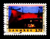 Inszenieren Sie 25. Anniv von Roskilde-Festival NORDEN - gepaartes Stadt-serie, circa 1995 Lizenzfreie Stockfotos
