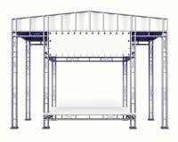 Inszenieren Sie Stahlbau mit dem leeren Schreibtisch auf Weiß lokalisiert Lizenzfreie Stockfotos