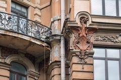 Intäkthuset av Dernov som också kallas ` huset med torn` som byggs i 1903-1905 St Petersburg Ryssland Arkivbilder