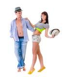 Intégral de jeunes couples d'isolement au-dessus du blanc Photo stock