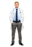 Intégral du jeune docteur sûr sur le fond blanc photo stock