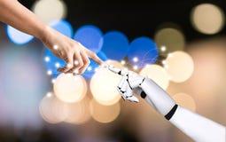 Intégration humaine de concept de système de main et de main de robot et coordination d'intelligence artificielle photo stock