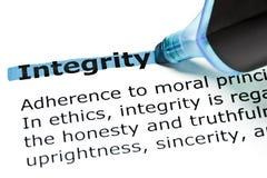 Intégrité mise en valeur dans le bleu Image libre de droits