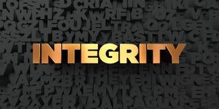 Intégrité - texte d'or sur le fond noir - photo courante gratuite de redevance rendue par 3D illustration de vecteur