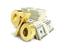 Intérêt, symbole dollar d'or, beaucoup de paquets de dollars Photos stock