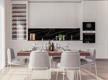 Intérieur à la maison élégant avec la cuisine ouverte de plan et salle à manger avec la table bien-étendue photo libre de droits