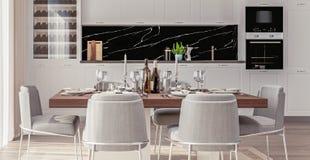 Intérieur à la maison élégant avec la cuisine ouverte de plan et salle à manger avec la table bien-étendue photos stock